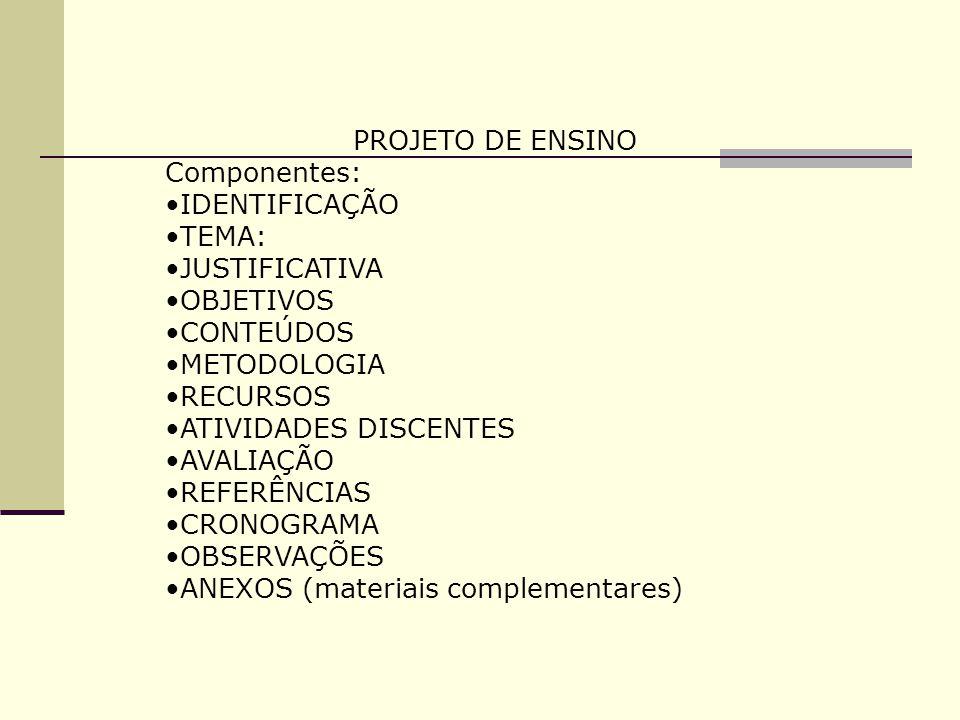 PROJETO DE ENSINO Componentes: IDENTIFICAÇÃO. TEMA: JUSTIFICATIVA. OBJETIVOS. CONTEÚDOS. METODOLOGIA.