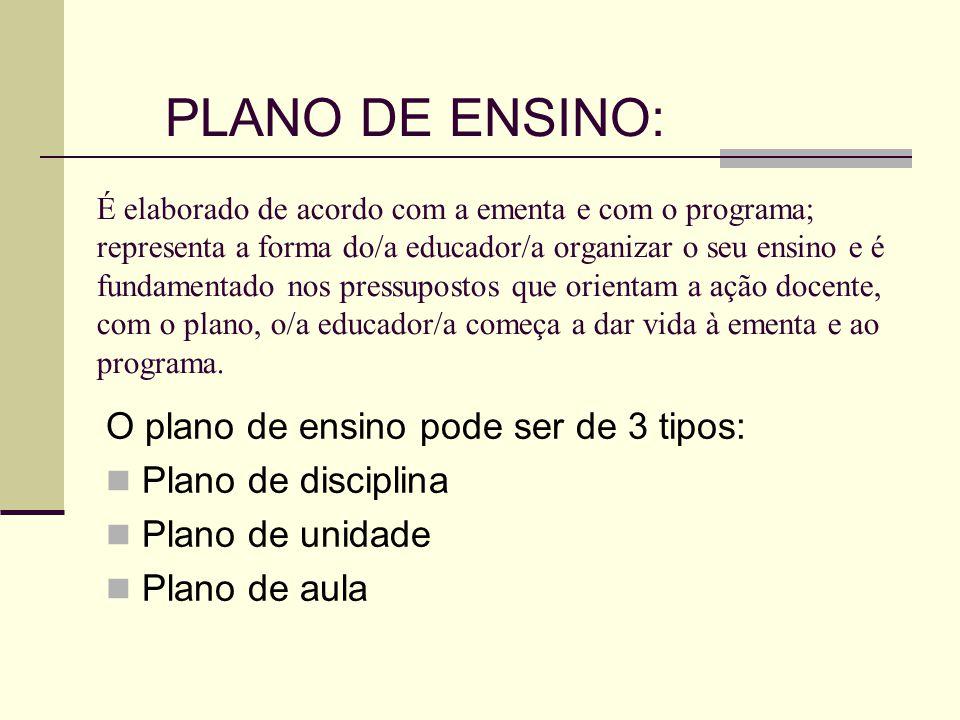 PLANO DE ENSINO: O plano de ensino pode ser de 3 tipos: