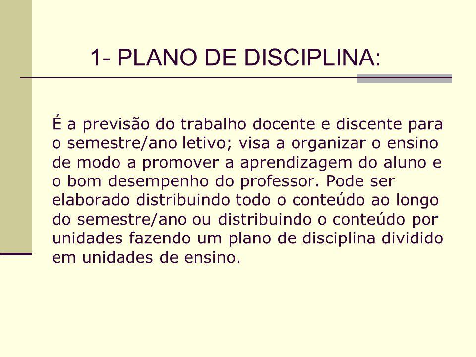 1- PLANO DE DISCIPLINA: