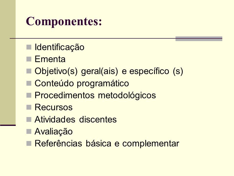 Componentes: Identificação Ementa