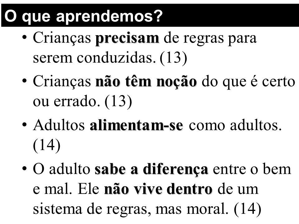 O que aprendemos Crianças precisam de regras para serem conduzidas. (13) Crianças não têm noção do que é certo ou errado. (13)