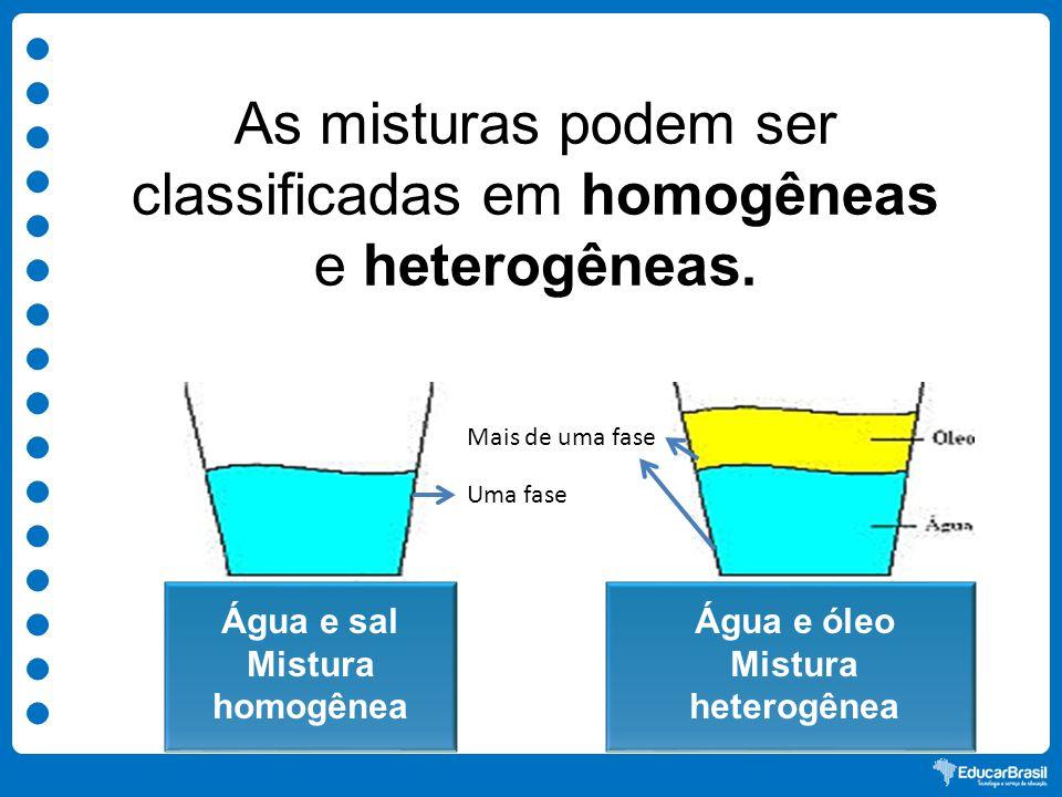 As misturas podem ser classificadas em homogêneas e heterogêneas.