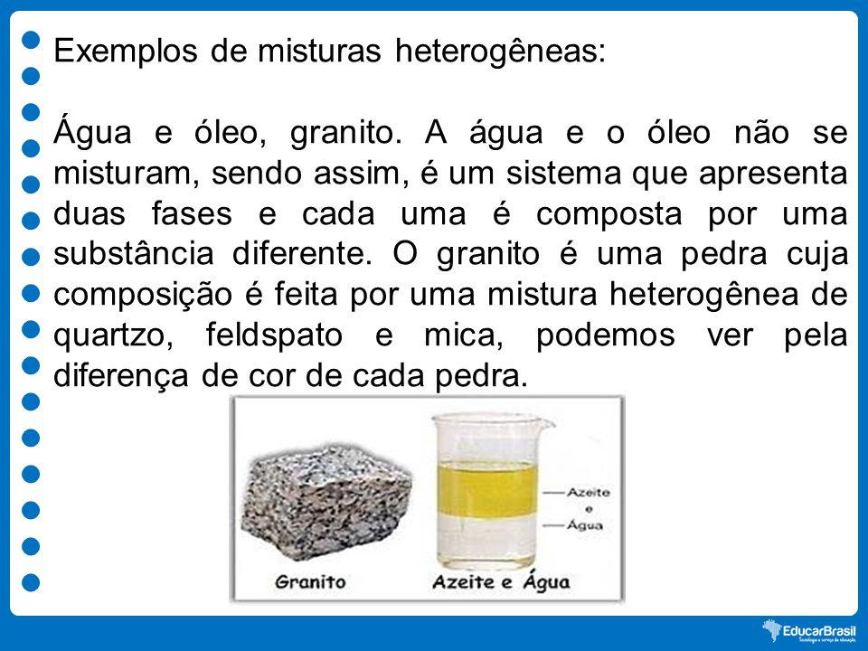 Exemplos de misturas heterogêneas: