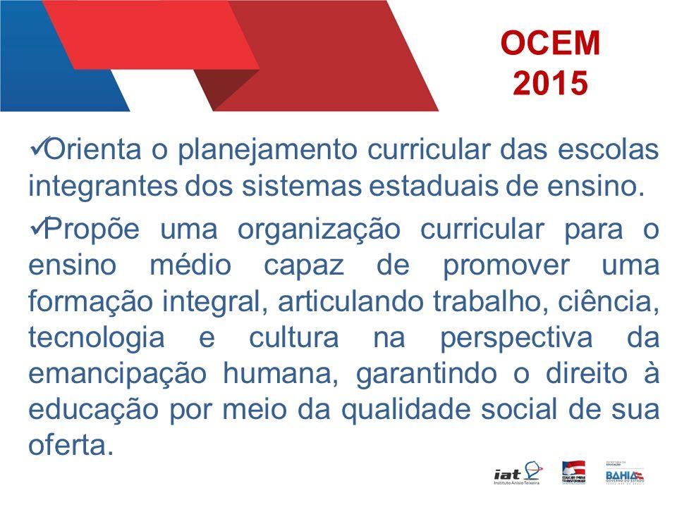 OCEM 2015 Orienta o planejamento curricular das escolas integrantes dos sistemas estaduais de ensino.