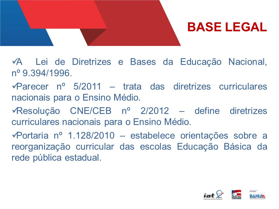 BASE LEGAL A Lei de Diretrizes e Bases da Educação Nacional, nº 9.394/1996.