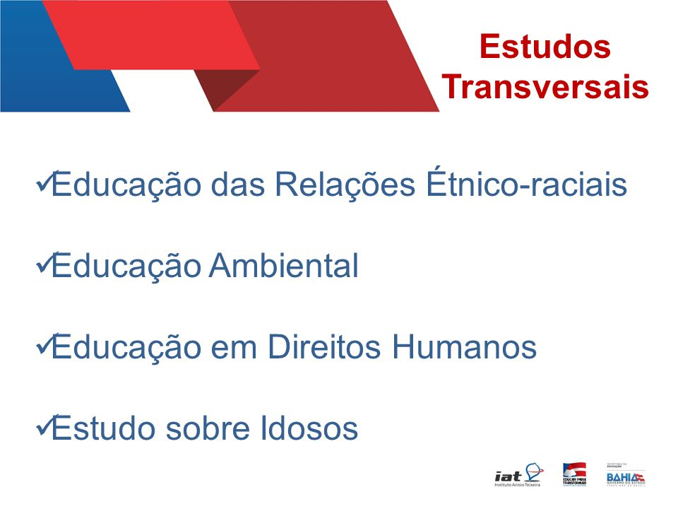Estudos Transversais Educação das Relações Étnico-raciais. Educação Ambiental. Educação em Direitos Humanos.