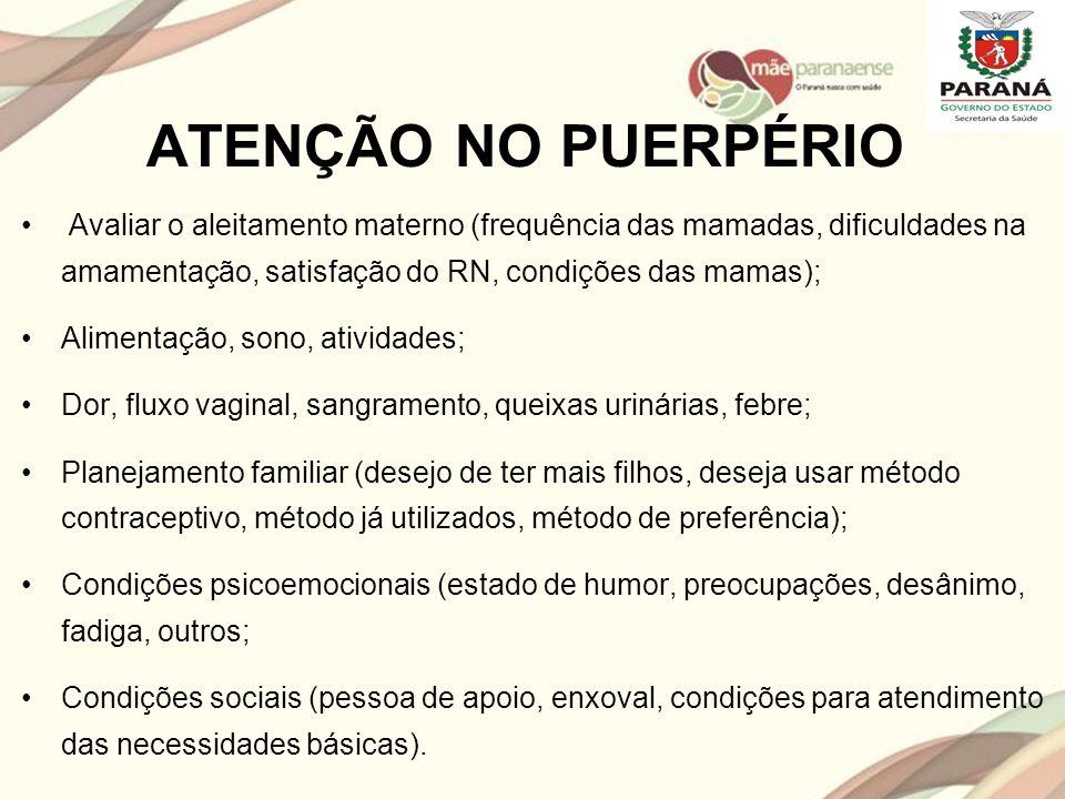 ATENÇÃO NO PUERPÉRIO Avaliar o aleitamento materno (frequência das mamadas, dificuldades na amamentação, satisfação do RN, condições das mamas);
