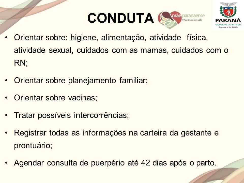 CONDUTA Orientar sobre: higiene, alimentação, atividade física, atividade sexual, cuidados com as mamas, cuidados com o RN;