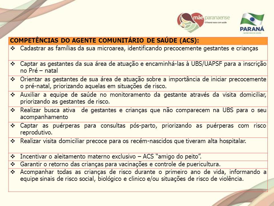 COMPETÊNCIAS DO AGENTE COMUNITÁRIO DE SAÚDE (ACS):
