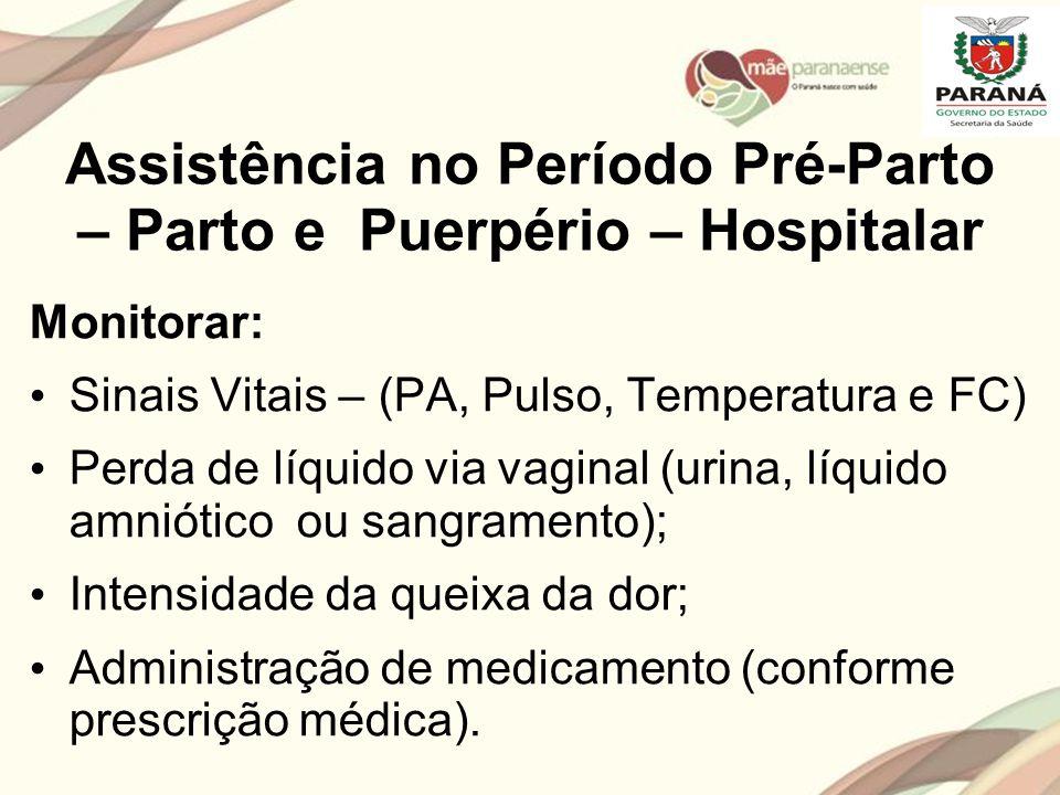 Assistência no Período Pré-Parto – Parto e Puerpério – Hospitalar