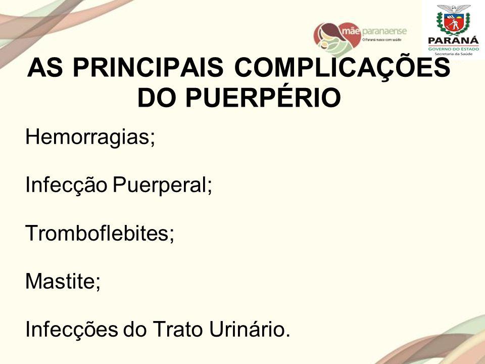 AS PRINCIPAIS COMPLICAÇÕES DO PUERPÉRIO