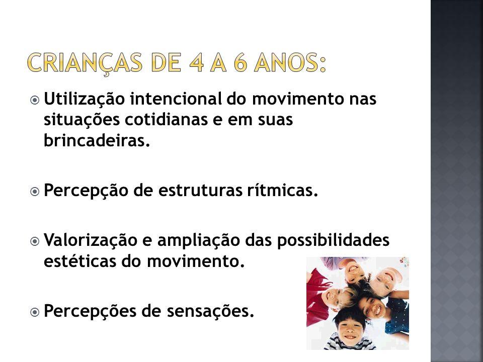 Crianças de 4 a 6 anos: Utilização intencional do movimento nas situações cotidianas e em suas brincadeiras.