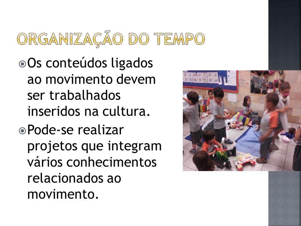 Organização do tempo Os conteúdos ligados ao movimento devem ser trabalhados inseridos na cultura.