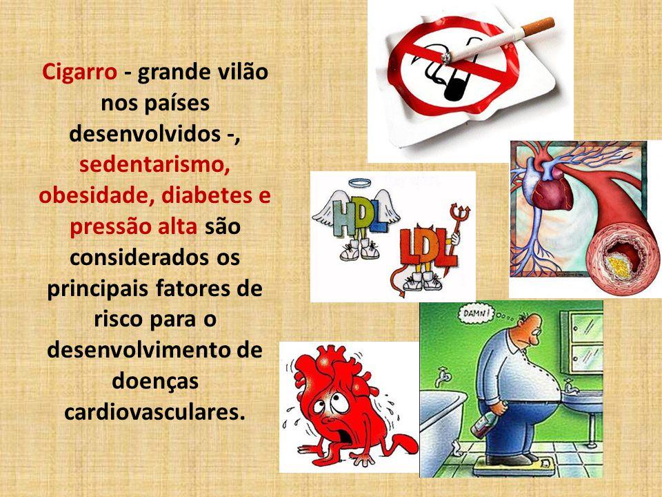 Cigarro - grande vilão nos países desenvolvidos -, sedentarismo, obesidade, diabetes e pressão alta são considerados os principais fatores de risco para o desenvolvimento de doenças cardiovasculares.