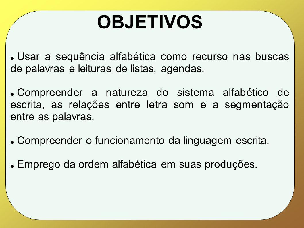 OBJETIVOS Usar a sequência alfabética como recurso nas buscas de palavras e leituras de listas, agendas.