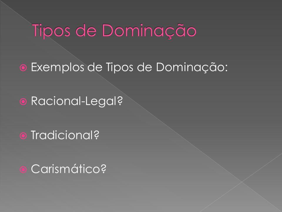 Tipos de Dominação Exemplos de Tipos de Dominação: Racional-Legal