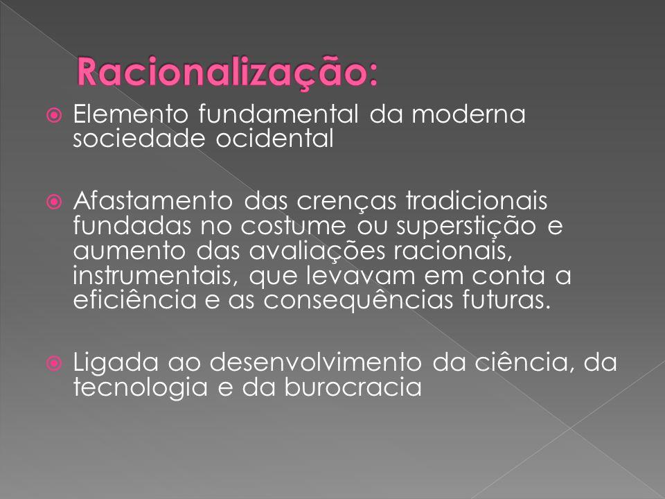 Racionalização: Elemento fundamental da moderna sociedade ocidental