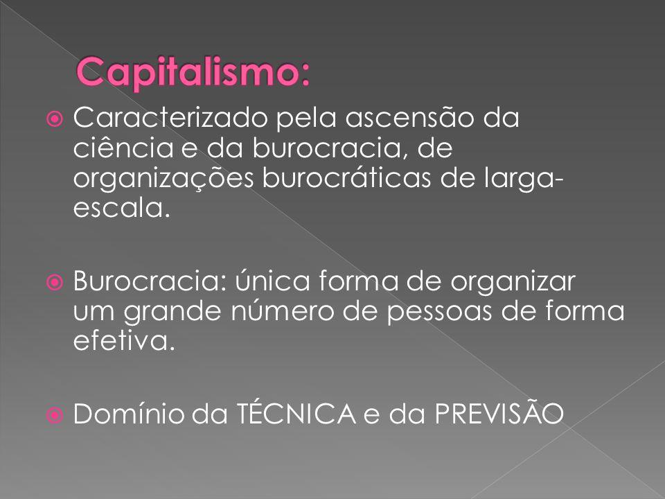 Capitalismo: Caracterizado pela ascensão da ciência e da burocracia, de organizações burocráticas de larga-escala.