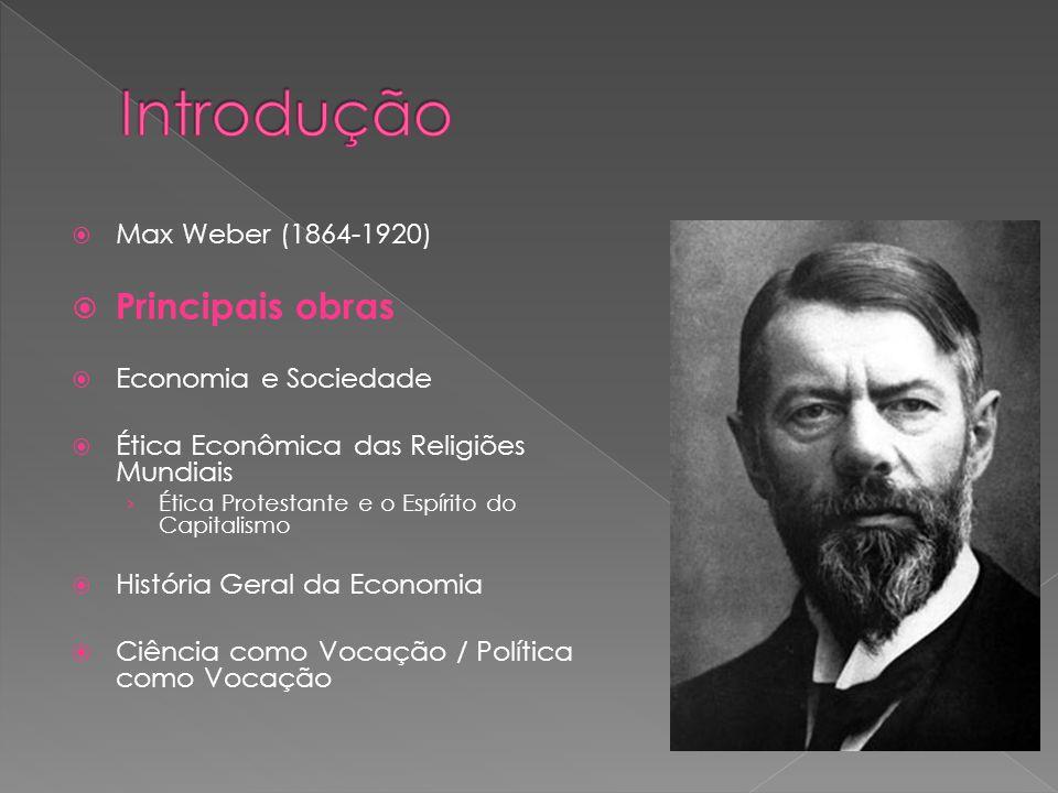 Introdução Principais obras Max Weber (1864-1920) Economia e Sociedade