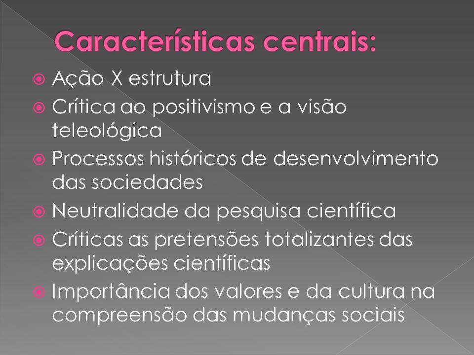 Características centrais:
