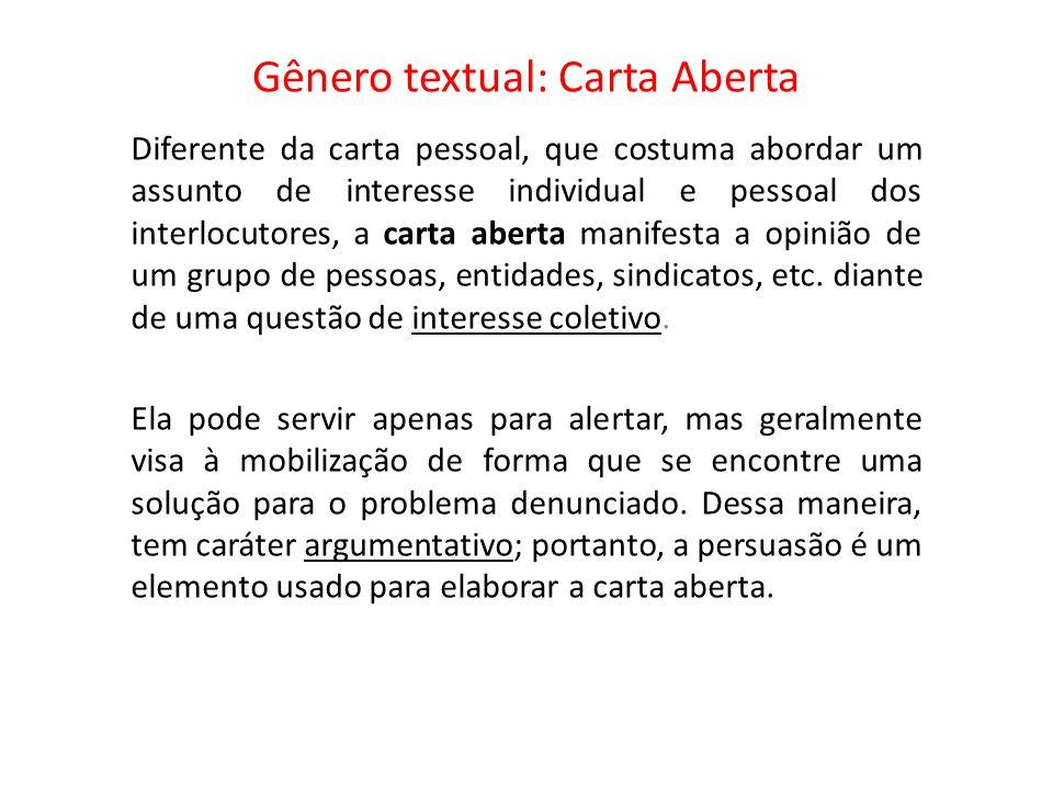 5981aa4030989 Gênero textual  Carta Aberta - ppt video online carregar