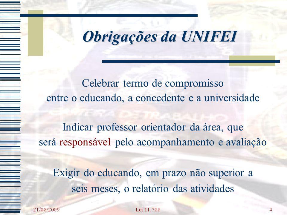 Obrigações da UNIFEI Celebrar termo de compromisso
