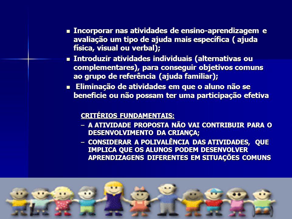Incorporar nas atividades de ensino-aprendizagem e avaliação um tipo de ajuda mais específica ( ajuda física, visual ou verbal);