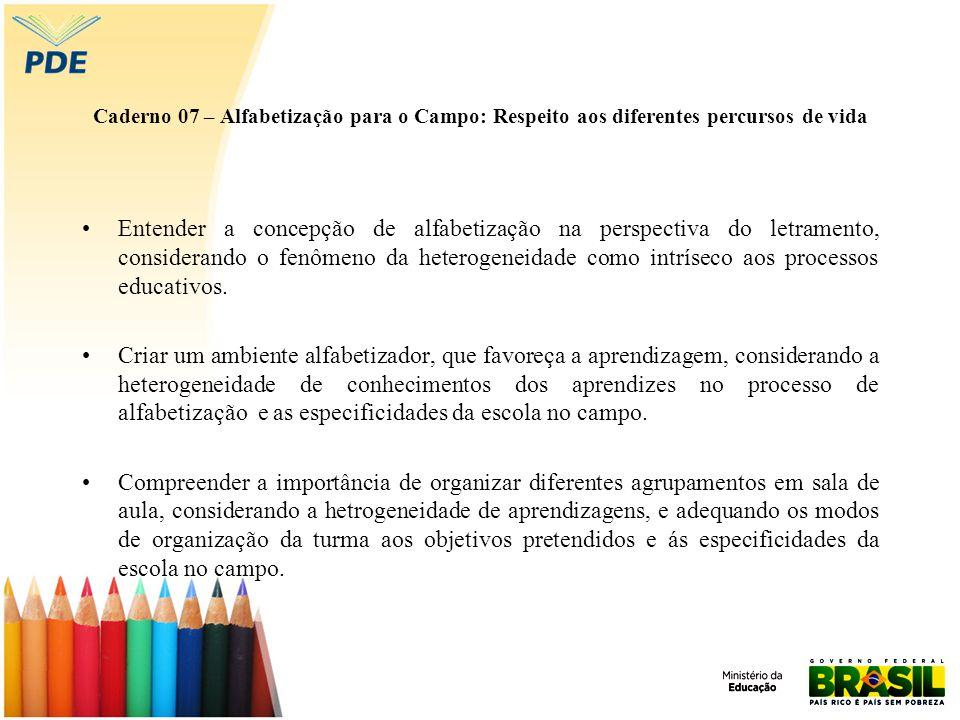 Caderno 07 – Alfabetização para o Campo: Respeito aos diferentes percursos de vida