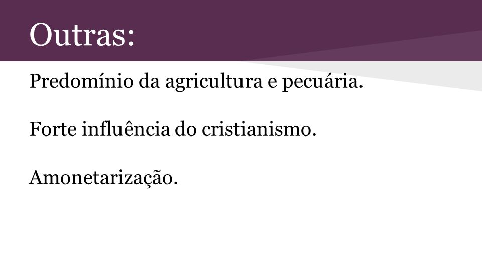 Outras: Predomínio da agricultura e pecuária.