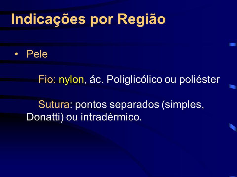 Indicações por Região Pele Fio: nylon, ác. Poliglicólico ou poliéster