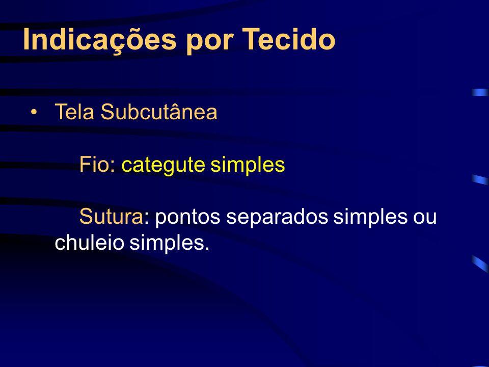 Indicações por Tecido Tela Subcutânea Fio: categute simples