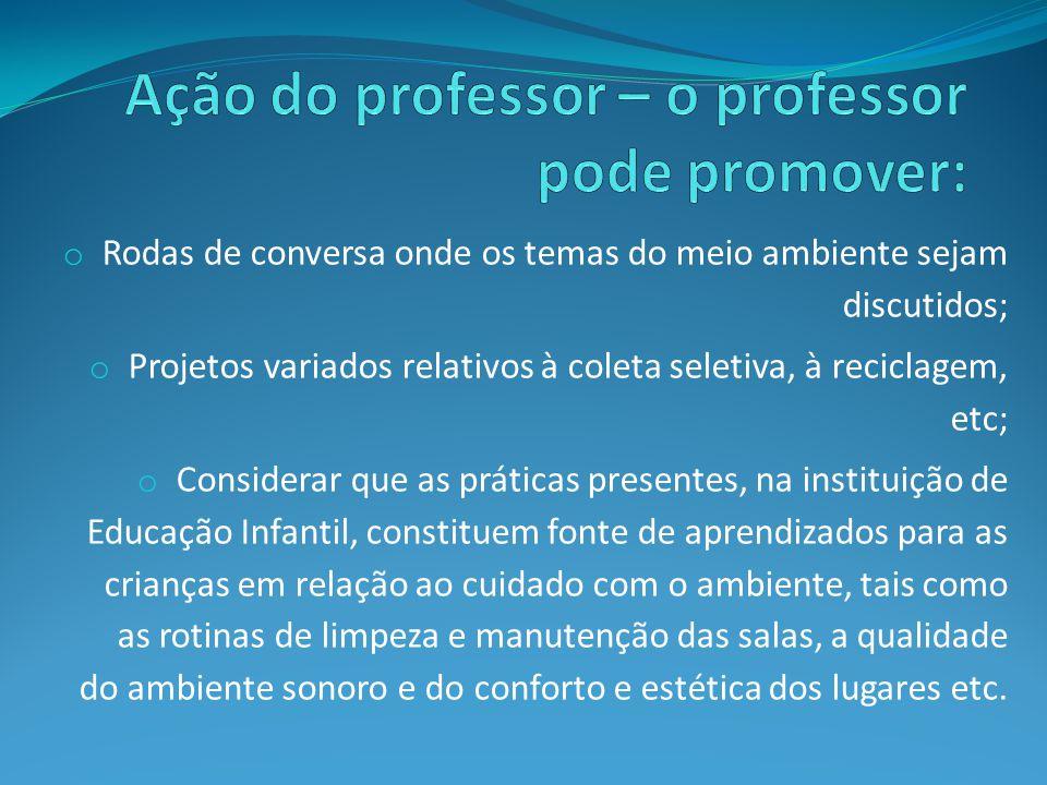 Ação do professor – o professor pode promover: