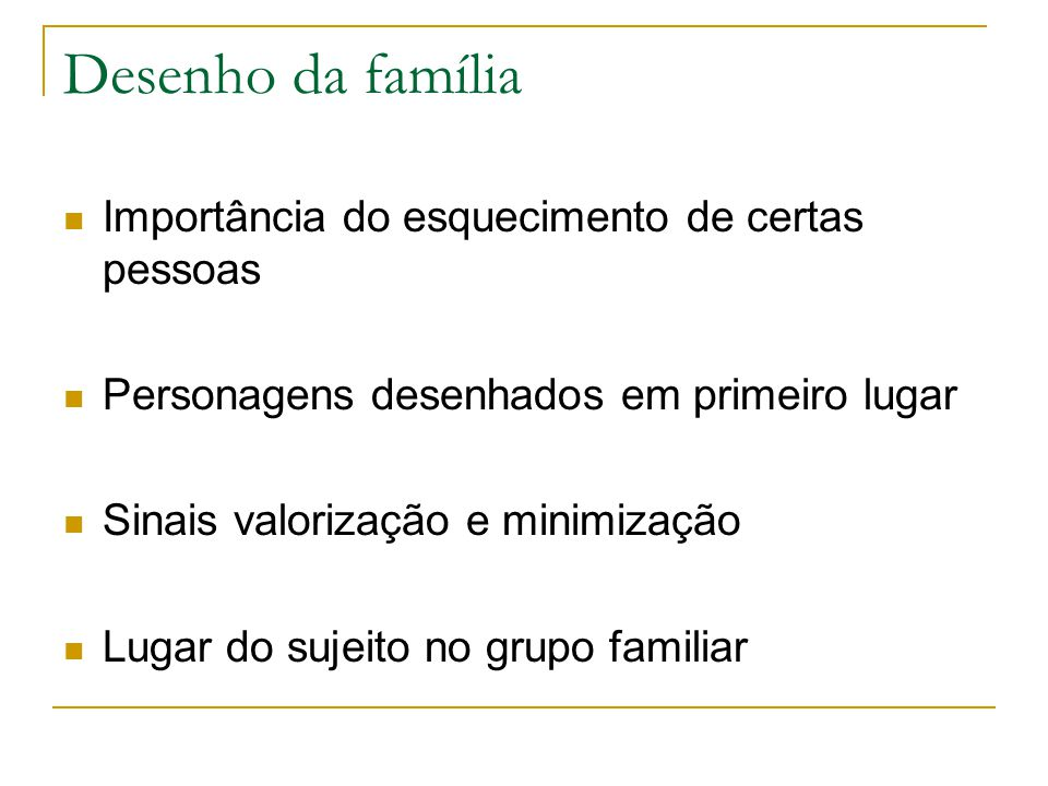 Desenho da família Importância do esquecimento de certas pessoas