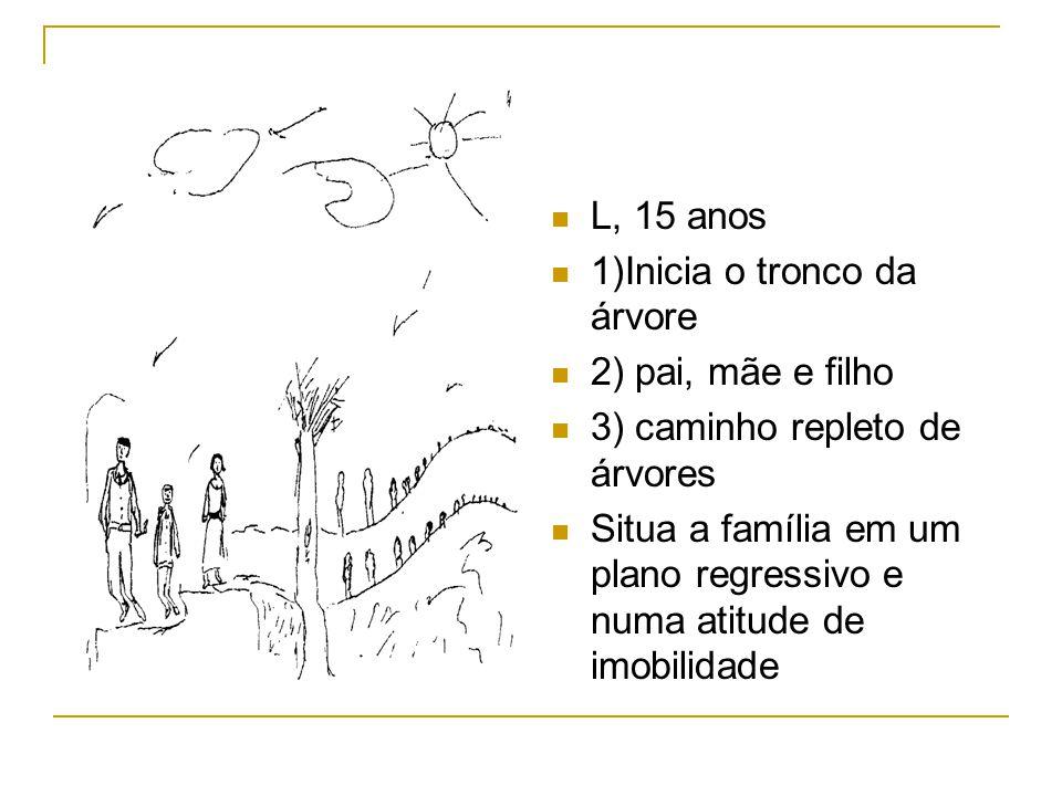 L, 15 anos 1)Inicia o tronco da árvore. 2) pai, mãe e filho. 3) caminho repleto de árvores.