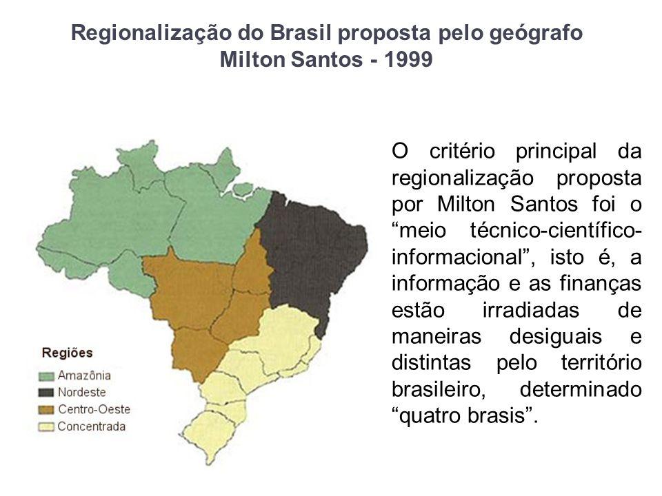 Regionalização do Brasil proposta pelo geógrafo Milton Santos - 1999