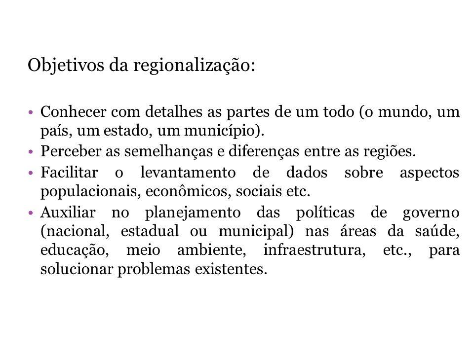 Objetivos da regionalização:
