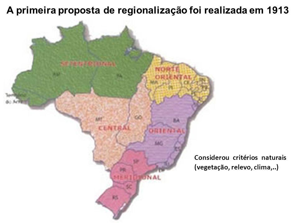 A primeira proposta de regionalização foi realizada em 1913