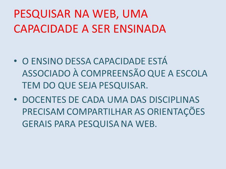 PESQUISAR NA WEB, UMA CAPACIDADE A SER ENSINADA