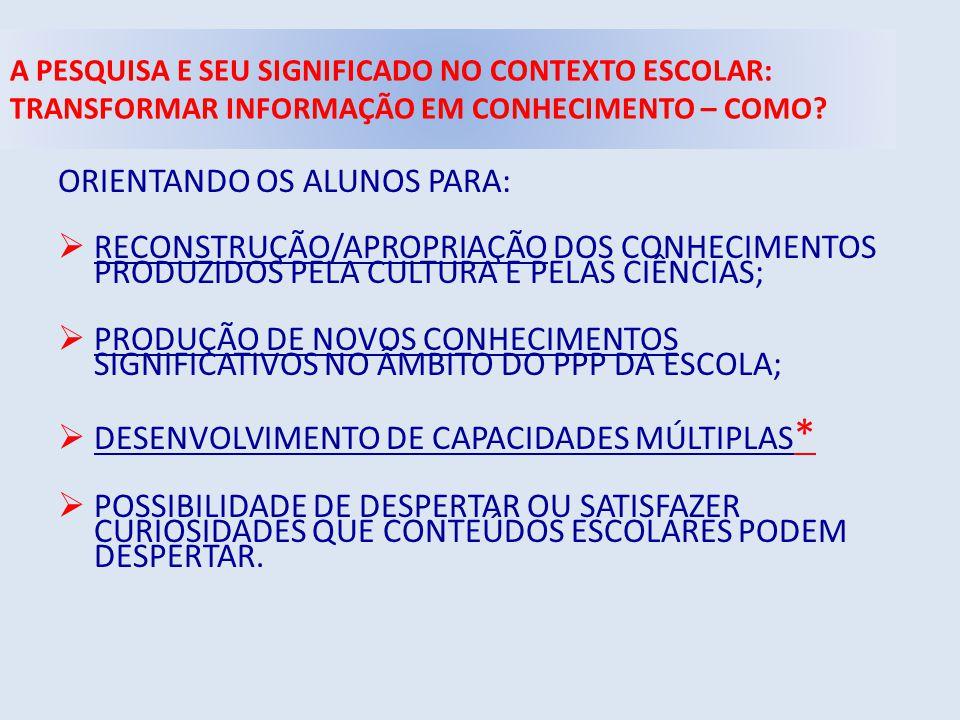 ORIENTANDO OS ALUNOS PARA:
