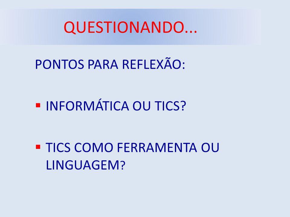 QUESTIONANDO... PONTOS PARA REFLEXÃO: INFORMÁTICA OU TICS