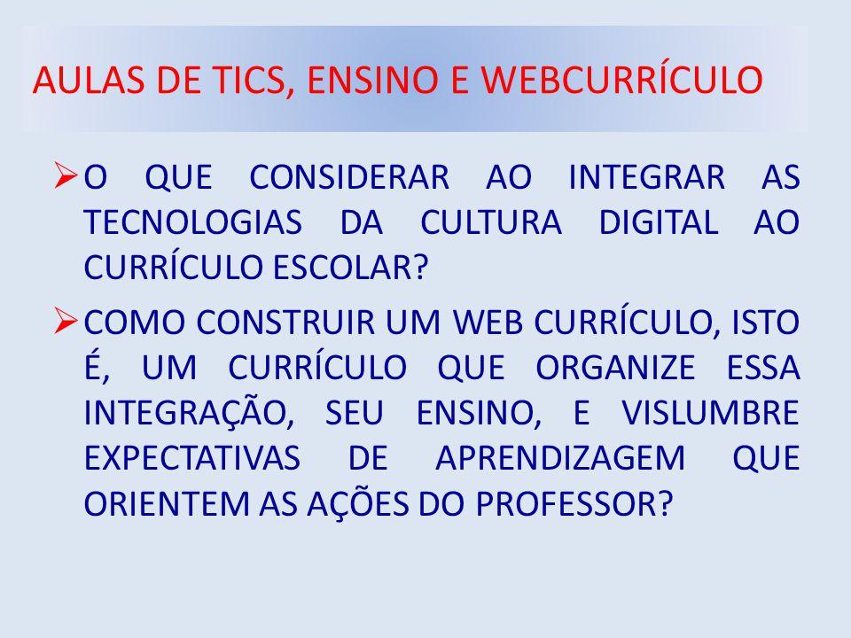 AULAS DE TICS, ENSINO E WEBCURRÍCULO