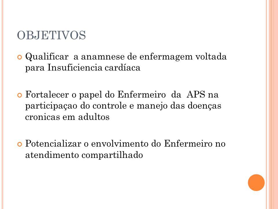 OBJETIVOS Qualificar a anamnese de enfermagem voltada para Insuficiencia cardíaca.