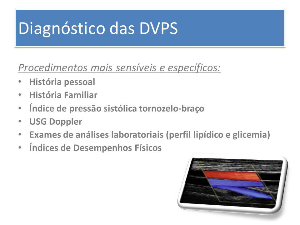 Diagnóstico das DVPS Procedimentos mais sensíveis e específicos: