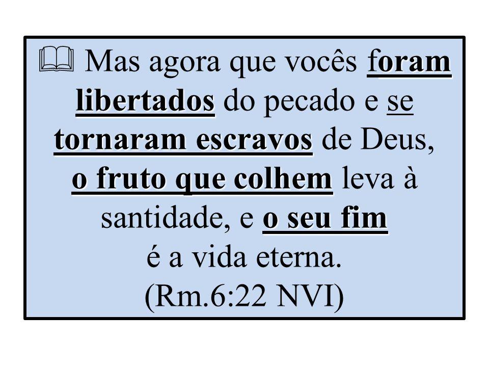  Mas agora que vocês foram libertados do pecado e se tornaram escravos de Deus, o fruto que colhem leva à santidade, e o seu fim é a vida eterna.