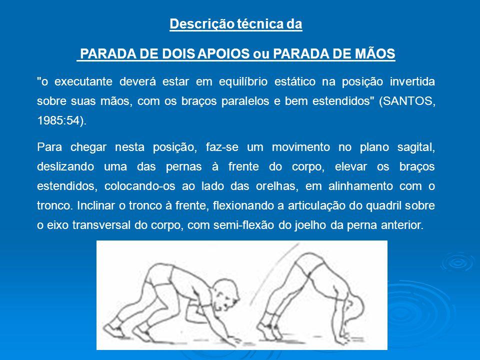 PARADA DE DOIS APOIOS ou PARADA DE MÃOS
