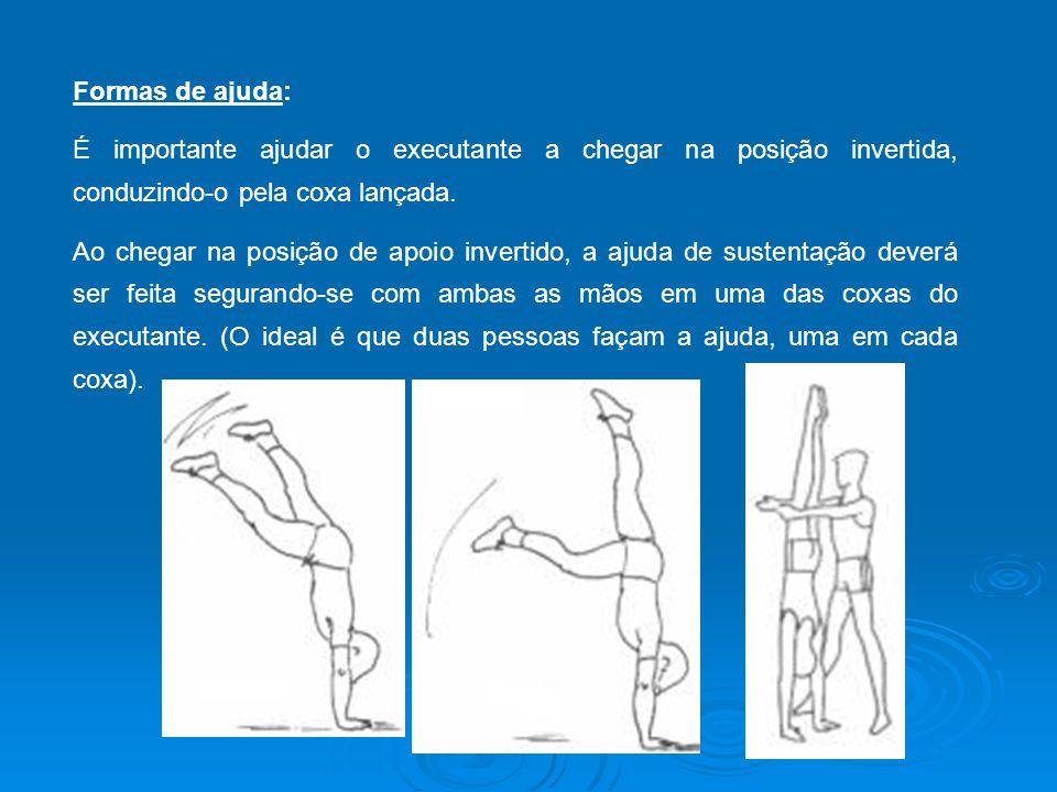 Formas de ajuda: É importante ajudar o executante a chegar na posição invertida, conduzindo-o pela coxa lançada.
