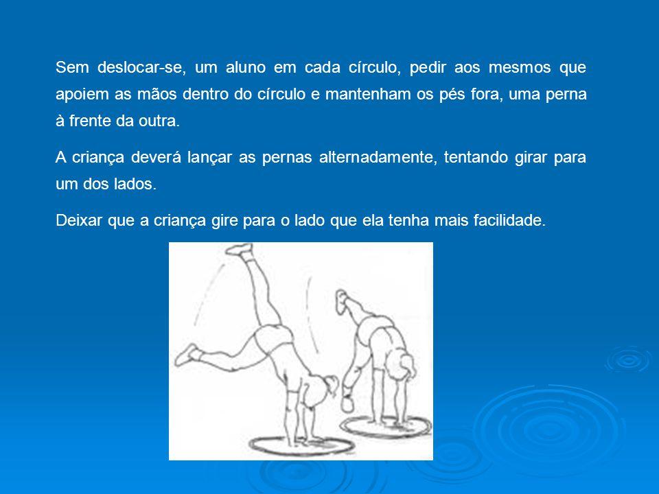 Sem deslocar-se, um aluno em cada círculo, pedir aos mesmos que apoiem as mãos dentro do círculo e mantenham os pés fora, uma perna à frente da outra.