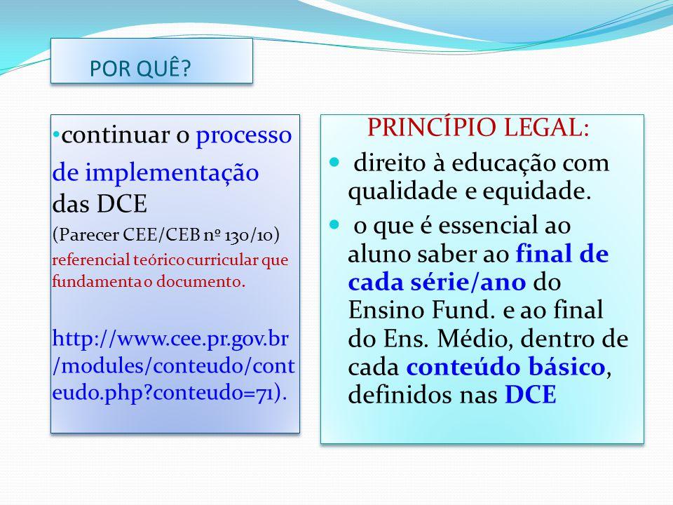 de implementação das DCE PRINCÍPIO LEGAL: