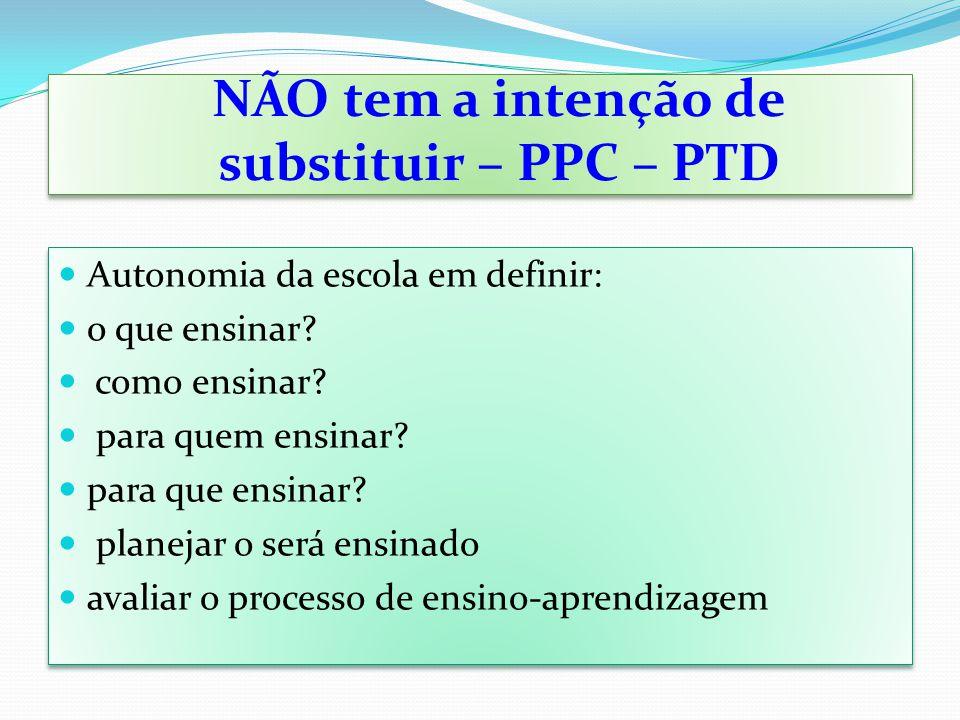 NÃO tem a intenção de substituir – PPC – PTD