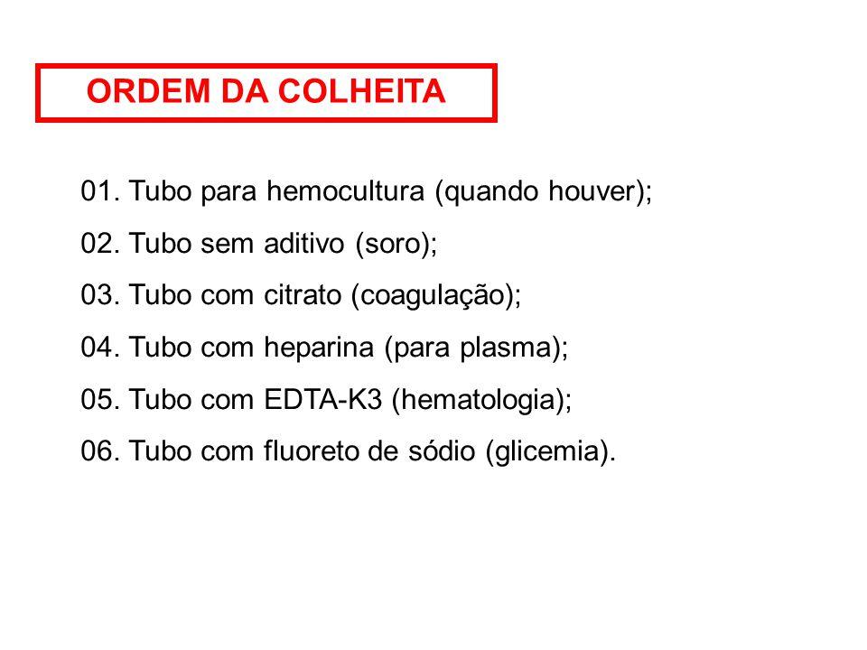 ORDEM DA COLHEITA 01. Tubo para hemocultura (quando houver);